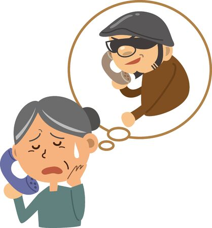 Ole or scam. Image illustration of an elderly woman being asked for money from a criminal