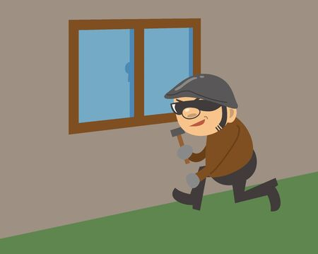 Image illustration of a criminal sneaking into his house