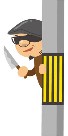 Image illustration of a criminal holding a kitchen knife Illustration