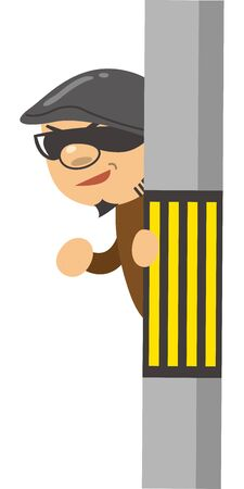 Image illustration of a criminal peeking from a telephone pole