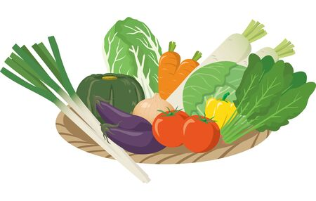 Image illustration of vegetables in a basket Иллюстрация