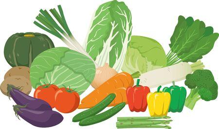 Assorted image illustration set of vegetables