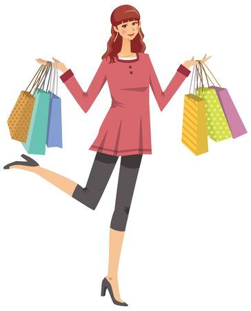 Image illustration of a woman who did a lot of shopping Ilustração