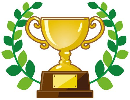 Image illustration of trophy with leaf (Gold)