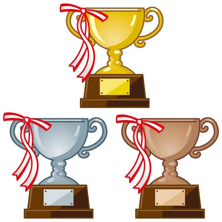 Image illustration of trophy with ribbon (gold, silver, copper)