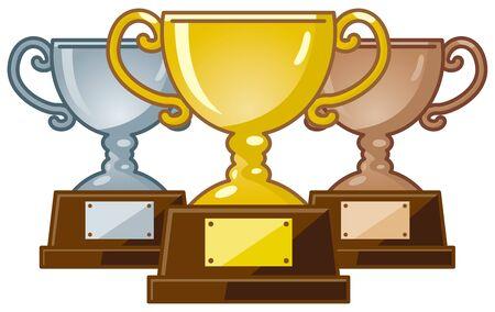 Image illustration of trophy (gold, silver, copper) 写真素材 - 137654075