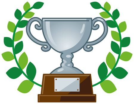 Image illustration of a trophy with a leaf (silver)