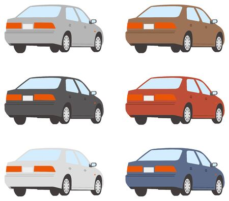 Image illustration of the car seen from the rear diagonal (color variation set) Ilustrace