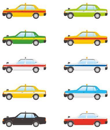 Image illustration of landscape taxi (color variation set) Stock Illustratie