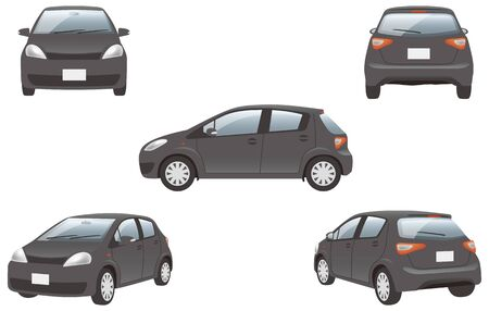 Image illustration of 5 angles (black) of the car Vector Illustratie
