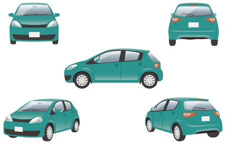 Image illustration of 5 angles (green) of the car