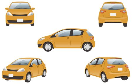 Image illustration of 5 angles (orange) of the car Ilustracja