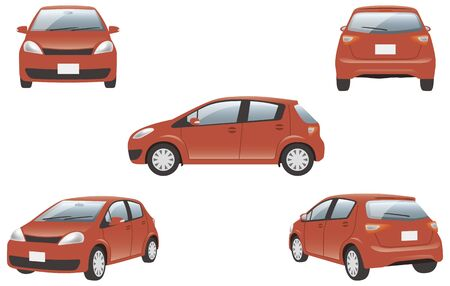 Image illustration of 5 angles (red) of the car