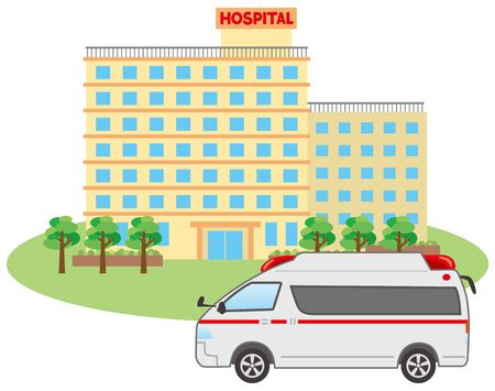 Image illustration of ambulance and hospital
