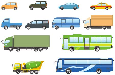 land vehicles. Automotive Illustration Set