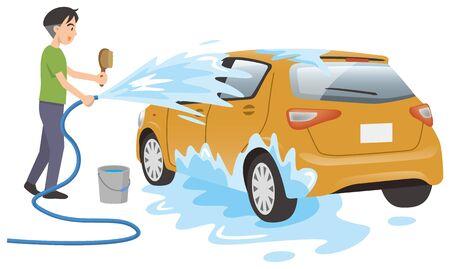 Image illustration of a man washing a car 일러스트