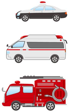 Image illustration set of police cars, ambulances, and fire engines