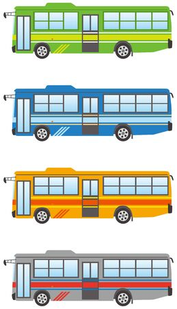Route bus color variation  イラスト・ベクター素材