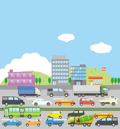 Image illustration of a town congested with traffic jams (both lanes)