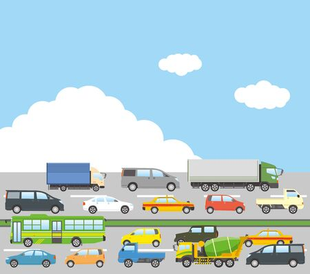 Image illustration of traffic jams (blue sky)