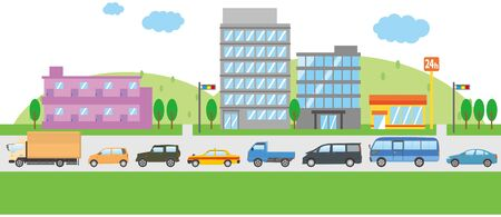 Image illustration of a town congested with traffic jams (one lane) Illustration