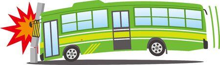 Image illustration of a bus crashing into a telephone pole