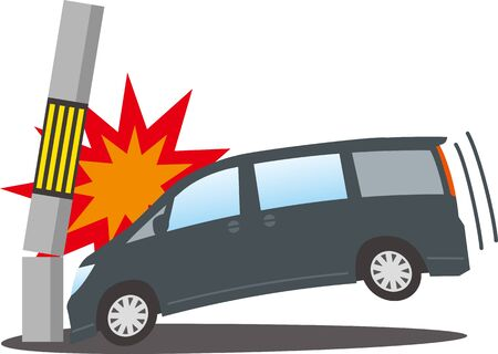 Image illustration of a wagon crashing into a telephone pole