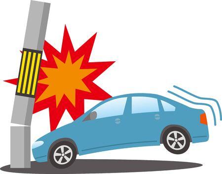 Image illustration of a car crashing into a telephone pole  イラスト・ベクター素材