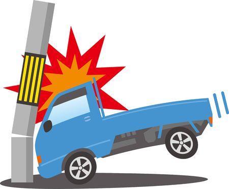 Image illustration of a light truck crashing into a telephone pole