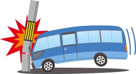 Image illustration of a microbus crashing into a telephone pole