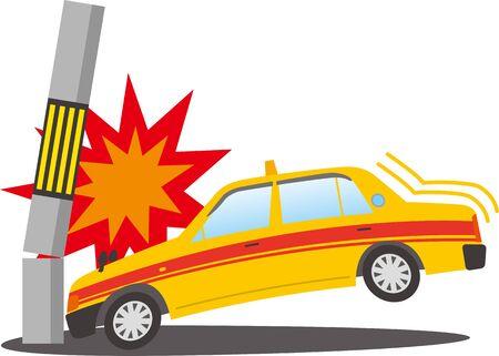 Image illustration of a taxi crashing into a telephone pole