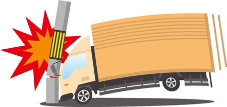 Image illustration of a medium-sized truck crashing into a telephone pole