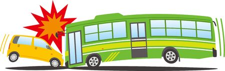 Image illustration of a passenger car and a bus colliding head-on Ilustração Vetorial