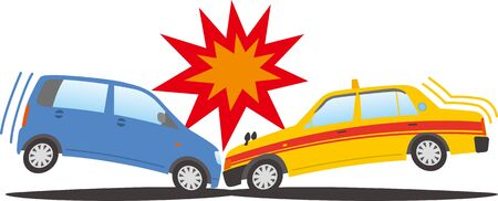 Image illustration of a passenger car and a taxi colliding head-on