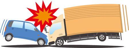 Image illustration of a car and a truck collide head-on Ilustração