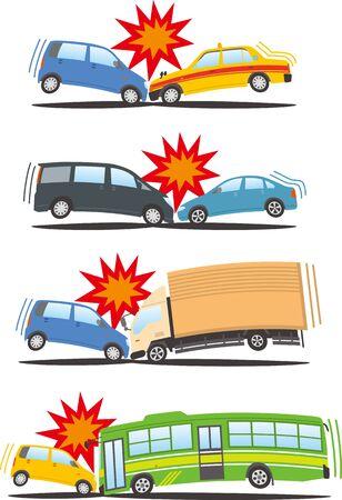 Image illustration set with a head-on collision Ilustração