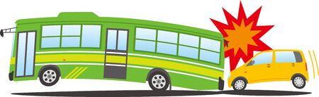 Image of a passenger car crashing into a bus