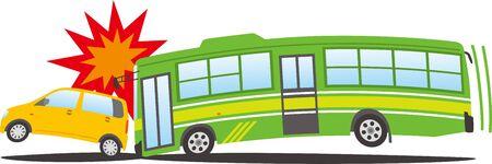 Image illustration of a bus crashing into a passenger car
