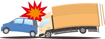 Image illustration of a truck crashing into a passenger car