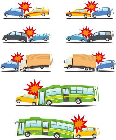 Image illustration set of rear-end collision