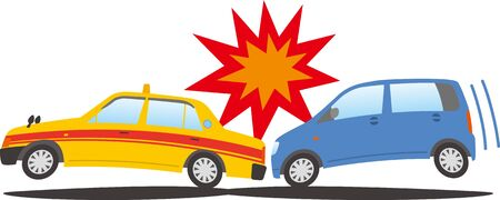 Image of a passenger car crashing into a taxi