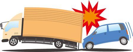 Image illustration of a passenger car crashing into a truck