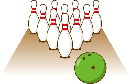 Image illustration of bowling pin, bowl and lane