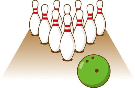Image illustration of bowling pin, bowl and lane