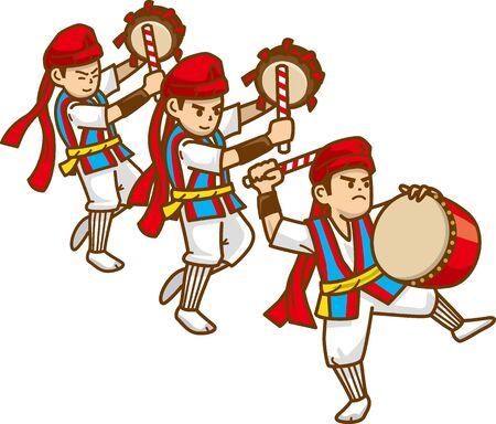 Okinawa's traditional culture dance (Taiko taiko and taiko drumming)
