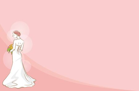 Image illustration of a new album wearing a wedding dress (pink background)
