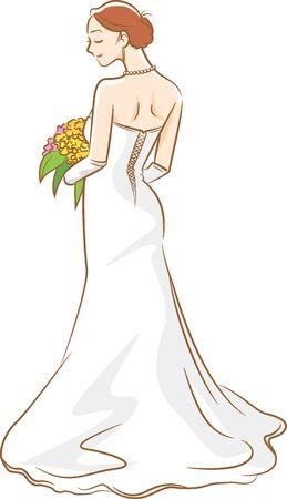 Image illustration of a new score wearing a wedding dress (back figure) Stock Illustratie