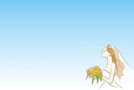 Image illustration of a new album wearing a wedding dress (blue background)