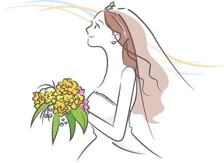 Image illustration of a new score wearing a wedding dress (landscape) Stock Illustratie
