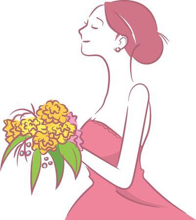 Image illustration of the bride in a color dress (landscape)